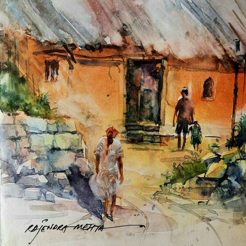 home , 7 x 5 inch, rajendra mehta,7x5inch,thick paper,paintings,watercolor,GAL03116043634