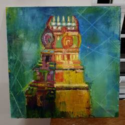 temple painting, 16 x 16 inch, swaroopa ganji,16x16inch,wood board,paintings,landscape paintings,abstract expressionism paintings,expressionism paintings,surrealism paintings,contemporary paintings,paintings for living room,oil color,GAL03117943640