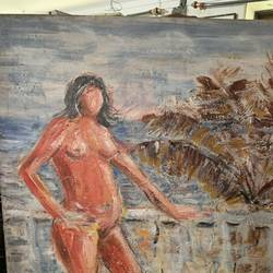 nude lady standing pose , 24 x 36 inch, mehool bhuva,24x36inch,canvas,paintings,figurative paintings,paintings for bedroom,acrylic color,GAL03118443653