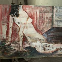 nude side portrait of lady , 30 x 18 inch, mehool bhuva,30x18inch,canvas,paintings,figurative paintings,acrylic color,GAL03118443658