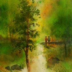 untotled, 10 x 14 inch, rajendra mehta,10x14inch,handmade paper,paintings,impressionist paintings,watercolor,GAL03116043664