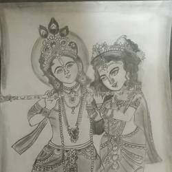 krishna and radha drawings, 12 x 17 inch, rishitha lella,12x17inch,thick paper,paintings for hospital,fine art drawings,paintings for hospital,graphite pencil,paper,GAL03107643665