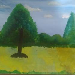 natural scenery     , 12 x 17 inch, rishitha lella,12x17inch,thick paper,paintings,nature paintings   scenery paintings,paintings for hospital,poster color,graphite pencil,GAL03107643666