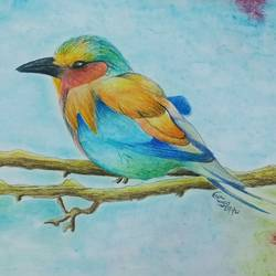bird and nature painting, 8 x 10 inch, neha  gangal,8x10inch,ivory sheet,nature paintings | scenery paintings,pencil color,GAL01408643671
