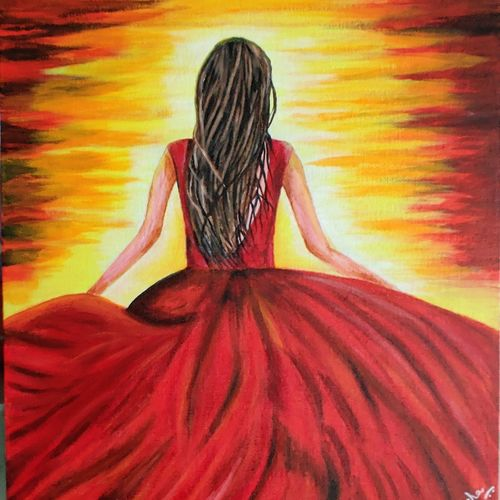 girl and the sunset, 16 x 20 inch, richa sonali,16x20inch,canvas,paintings,still life paintings,portrait paintings,nature paintings | scenery paintings,art deco paintings,portraiture,realistic paintings,paintings for dining room,paintings for living room,paintings for bedroom,paintings for office,paintings for bathroom,paintings for kids room,paintings for hotel,paintings for kitchen,paintings for school,oil color,GAL03119143675