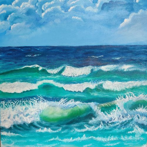 waves and beach, 18 x 24 inch, richa sonali,18x24inch,canvas,paintings,abstract paintings,nature paintings | scenery paintings,art deco paintings,photorealism paintings,paintings for dining room,paintings for living room,paintings for bedroom,paintings for office,paintings for bathroom,paintings for kids room,paintings for hotel,paintings for kitchen,paintings for school,paintings for hospital,oil color,GAL03119143684