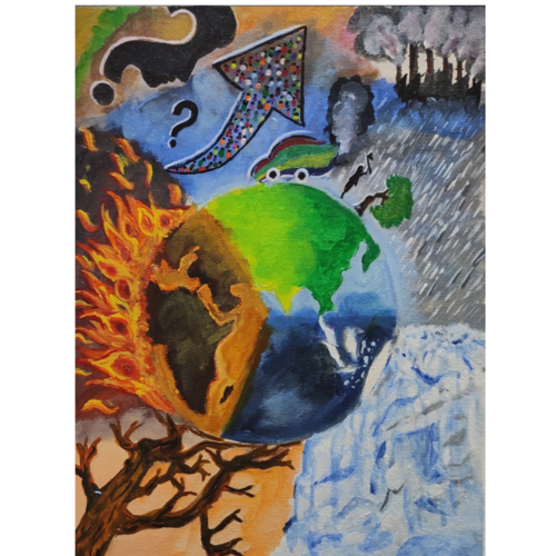 climate change and the earth, 12 x 16 inch, subhashree sahu,12x16inch,canvas board,paintings,expressionism paintings,paintings for dining room,paintings for living room,paintings for bedroom,paintings for office,paintings for kids room,paintings for hotel,paintings for school,acrylic color,GAL02983243693