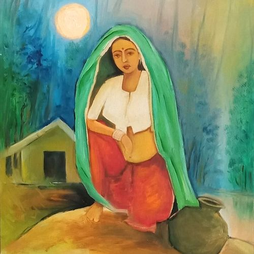 village woman, 12 x 14 inch, a.b.  kaser,12x14inch,oil sheet,paintings,figurative paintings,landscape paintings,nature paintings | scenery paintings,paintings for dining room,paintings for living room,paintings for bedroom,paintings for office,paintings for bathroom,oil color,GAL063643701
