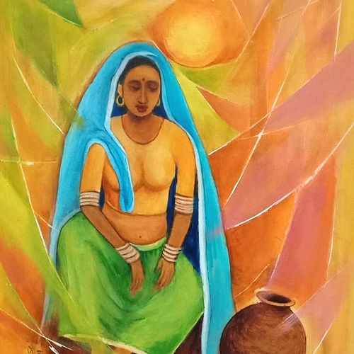 village woman -2, 11 x 15 inch, a.b.  kaser,11x15inch,paper,paintings,figurative paintings,contemporary paintings,paintings for dining room,paintings for living room,paintings for bedroom,paintings for office,paintings for hotel,acrylic color,GAL063643702