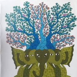 gond folk art canvas indian handmade painting animal jungle elephant elephants tree, 35 x 47 inch, indeasia  srijan,35x47inch,canvas,paintings,gond painting.,paintings for dining room,paintings for living room,paintings for bedroom,paintings for office,paintings for hotel,acrylic color,ink color,GAL03022943706