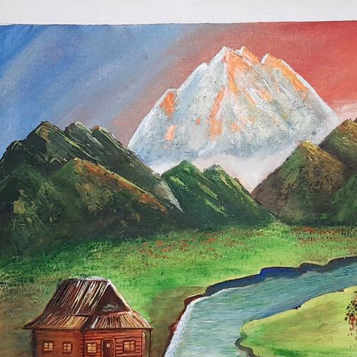 mountains and river beautiful scenery, 24 x 18 inch, preeti kadu,24x18inch,canvas,paintings,landscape paintings,nature paintings | scenery paintings,paintings for dining room,paintings for living room,paintings for bedroom,paintings for office,paintings for kids room,paintings for hotel,paintings for school,paintings for hospital,acrylic color,GAL03077643722