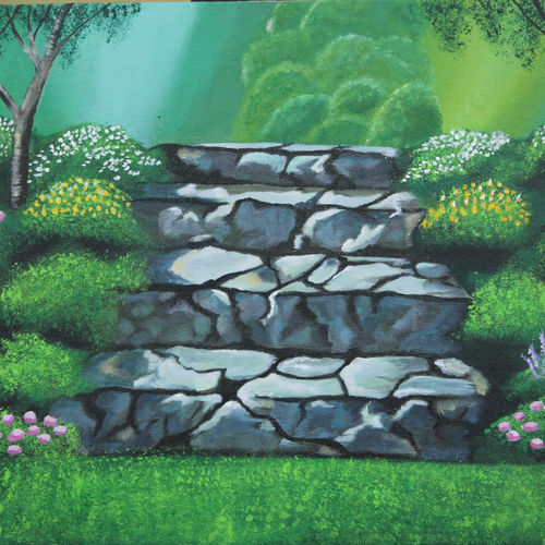 stairway to heaven, 12 x 16 inch, leepsa jena,landscape paintings,paintings for living room,nature paintings,canvas,acrylic color,12x16inch,GAL015314373Nature,environment,Beauty,scenery,greenery
