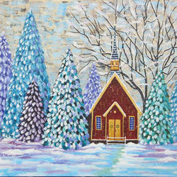 snowy winter and church, 16 x 12 inch, leepsa jena,landscape paintings,paintings for living room,religious paintings,canvas,acrylic color,16x12inch,GAL015314375