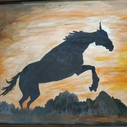 horse in sunset, 22 x 15 inch, dinesh pariakar,22x15inch,paper,horse paintings,paintings for living room,paintings for living room,watercolor,paper,GAL0529743764