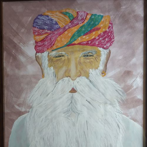 rajasthani old man, 13 x 14 inch, dinesh pariakar,13x14inch,paper,paintings,portrait paintings,paintings for living room,paintings for hotel,watercolor,paper,GAL0529743765
