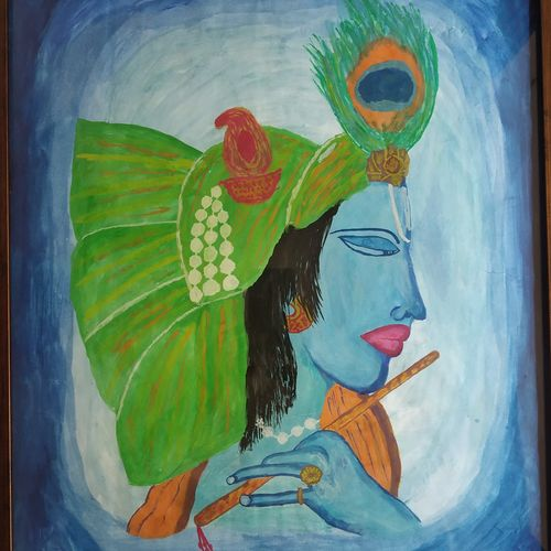 krishna, 17 x 22 inch, dinesh pariakar,17x22inch,paper,paintings,radha krishna paintings,paintings for dining room,paintings for living room,watercolor,paper,GAL0529743767