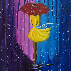 city girl in the rain, 10 x 12 inch, leepsa jena,cityscape paintings,paintings for living room,canvas,acrylic color,10x12inch,GAL015314377