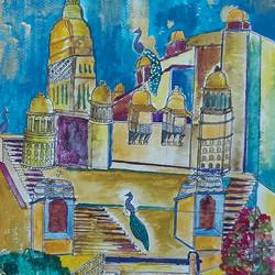 the golden fort, 12 x 17 inch, parikshit sinha,12x17inch,brustro watercolor paper,paintings,cityscape paintings,art deco paintings,watercolor,GAL03127843779
