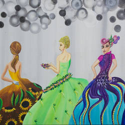 party girls, 12 x 24 inch, leepsa jena,figurative paintings,paintings for living room,canvas,acrylic color,12x24inch,GAL015314378