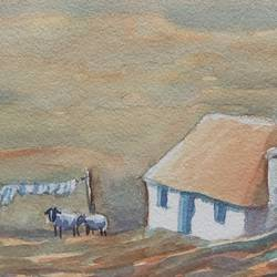 sheep and barn, 24 x 15 inch, ajay anand,24x15inch,handmade paper,paintings,landscape paintings,nature paintings | scenery paintings,impressionist paintings,paintings for dining room,paintings for living room,paintings for office,paintings for bathroom,paintings for kids room,paintings for hotel,watercolor,GAL01783943781