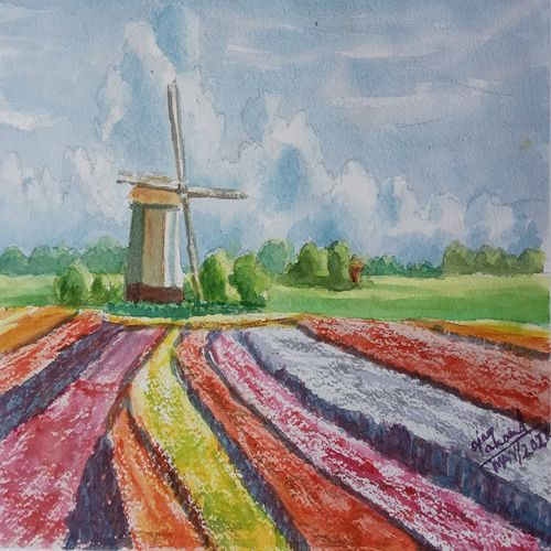 tulip and windmill, 24 x 15 inch, ajay anand,24x15inch,handmade paper,paintings,flower paintings,landscape paintings,impressionist paintings,paintings for living room,paintings for bedroom,paintings for office,paintings for bathroom,paintings for kids room,paintings for hotel,paintings for kitchen,watercolor,GAL01783943784
