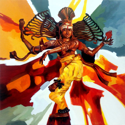natarajar 01, 36 x 36 inch, jeyaprakash m,religious paintings,paintings for living room,canvas,acrylic color,36x36inch,GAL011024379