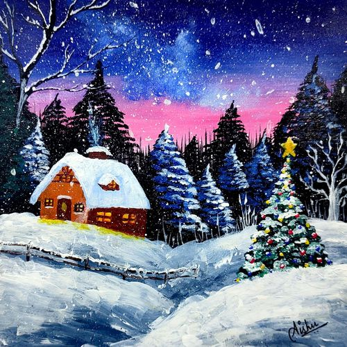 snowy winter landscape with hut   acrylic scenery painting, 7 x 7 inch, aishwarya sapar,7x7inch,drawing paper,paintings,landscape paintings,nature paintings   scenery paintings,photorealism paintings,realism paintings,paintings for dining room,paintings for living room,paintings for bedroom,paintings for office,paintings for kids room,paintings for hotel,paintings for kitchen,paintings for school,paintings for dining room,paintings for living room,paintings for bedroom,paintings for office,paintings for kids room,paintings for hotel,paintings for kitchen,paintings for school,acrylic color,GAL03128843792