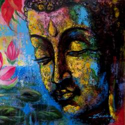 buddha - with lotus, 24 x 15 inch, dinak divakaran,buddha paintings,paintings for living room,canvas,acrylic color,24x15inch,religious,peace,meditation,meditating,gautam,goutam,buddha,lord,colourful,side face,flowers,GAL0229438