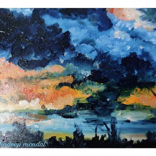 cloudy sky, 8 x 6 inch, shankhadeep  mondal,8x6inch,thick paper,paintings,abstract paintings,landscape paintings,modern art paintings,conceptual paintings,paintings for dining room,paintings for living room,paintings for bedroom,paintings for office,paintings for kids room,paintings for hotel,paintings for kitchen,paintings for school,paintings for hospital,oil color,GAL01403043819
