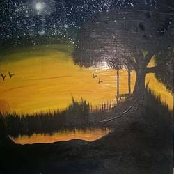 the evening  with the darkest sky, 15 x 12 inch, rajni  verma,15x12inch,canvas,paintings,still life paintings,nature paintings | scenery paintings,paintings for dining room,paintings for living room,paintings for office,paintings for hotel,paintings for school,oil color,watercolor,GAL03131543831