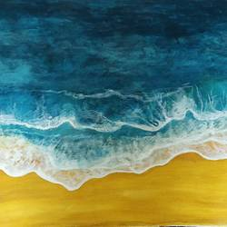 touch of the waves, 24 x 18 inch, kalpana manohar,24x18inch,canvas,paintings,abstract paintings,landscape paintings,acrylic color,GAL03130043839