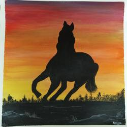 wild and free, 17 x 17 inch, kalpana manohar,17x17inch,canvas,paintings,wildlife paintings,landscape paintings,horse paintings,acrylic color,GAL03130043841