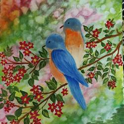 birds, 13 x 17 inch, kalpana manohar,13x17inch,canvas,paintings,wildlife paintings,landscape paintings,nature paintings | scenery paintings,acrylic color,GAL03130043842