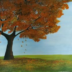 autumn tree, 20 x 17 inch, kalpana manohar,20x17inch,canvas,paintings,landscape paintings,nature paintings | scenery paintings,acrylic color,GAL03130043843