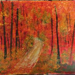 autumn forest, 17 x 13 inch, kalpana manohar,17x13inch,canvas,paintings,abstract paintings,landscape paintings,nature paintings | scenery paintings,acrylic color,GAL03130043844