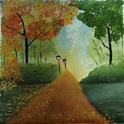 garden, 18 x 21 inch, kalpana manohar,18x21inch,canvas,paintings,landscape paintings,nature paintings | scenery paintings,acrylic color,GAL03130043845