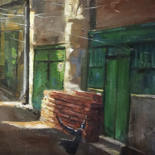 narrow lane, 12 x 24 inch, soyli saha,12x24inch,canvas,paintings,cityscape paintings,paintings for dining room,paintings for living room,paintings for bedroom,paintings for office,paintings for bathroom,paintings for kids room,paintings for hotel,paintings for kitchen,paintings for school,paintings for hospital,oil color,GAL0606543848