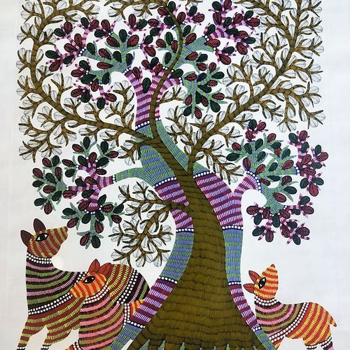 handmade gond art painting/traditional and classy/beautiful indian painting, 30 x 35 inch, preeti  singh,30x35inch,cloth,paintings,folk art paintings,nature paintings | scenery paintings,abstract expressionism paintings,natural color,paper,GAL03125743849