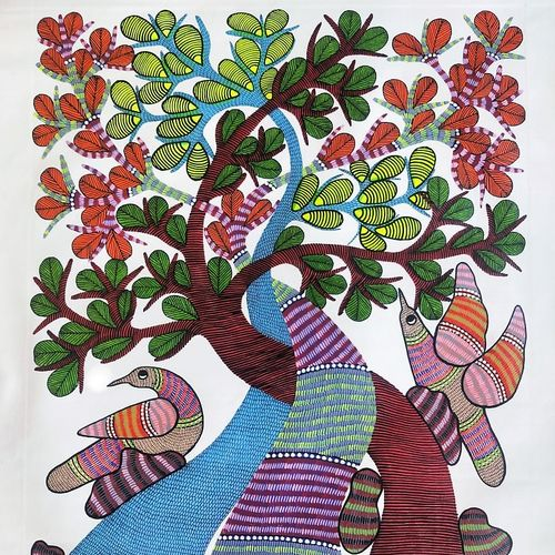 one line gond art/beautiful painting/authentic indian style., 30 x 35 inch, preeti  singh,30x35inch,canvas,paintings,folk art paintings,conceptual paintings,nature paintings | scenery paintings,mixed media,natural color,GAL03125743850