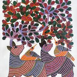 handmade gond art painting/traditional and classy/beautiful indian painting, 30 x 35 inch, preeti  singh,30x35inch,canvas,paintings,folk art paintings,expressionism paintings,paintings for dining room,paintings for living room,paintings for office,paintings for bathroom,paintings for kids room,paintings for hotel,paintings for kitchen,paintings for school,paintings for hospital,paintings for dining room,paintings for living room,paintings for office,paintings for bathroom,paintings for kids room,paintings for hotel,paintings for kitchen,paintings for school,paintings for hospital,acrylic color,mixed media,GAL03125743851
