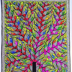 fish tree/ madhubani painting/traditional indian art, 20 x 30 inch, preeti  singh,20x30inch,thick paper,paintings,folk art paintings,nature paintings | scenery paintings,madhubani paintings | madhubani art,paintings for dining room,paintings for living room,paintings for bedroom,paintings for office,paintings for bathroom,paintings for kids room,paintings for hotel,paintings for kitchen,paintings for school,paintings for hospital,acrylic color,mixed media,natural color,GAL03125743853