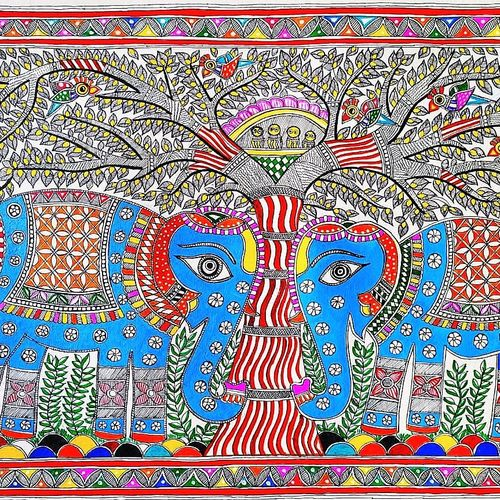 royal elephant/tree of life/ madhubani painting/indian art/fine art work, 30 x 22 inch, preeti  singh,30x22inch,thick paper,paintings,madhubani paintings | madhubani art,paintings for dining room,paintings for living room,paintings for bedroom,paintings for office,paintings for bathroom,paintings for kids room,paintings for hotel,paintings for kitchen,paintings for school,paintings for hospital,acrylic color,mixed media,natural color,GAL03125743854