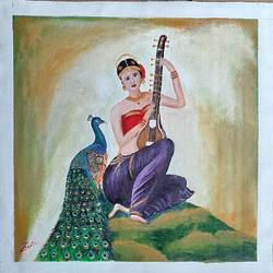 girl with sitar and peacock, 18 x 18 inch, preeti kadu,18x18inch,canvas,figurative paintings,portrait paintings,nature paintings   scenery paintings,paintings for dining room,paintings for living room,paintings for bedroom,paintings for office,paintings for kids room,paintings for hotel,paintings for kitchen,paintings for hospital,paintings for dining room,paintings for living room,paintings for bedroom,paintings for office,paintings for kids room,paintings for hotel,paintings for kitchen,paintings for hospital,acrylic color,GAL03077643861