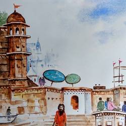 varanasi ghat , 11 x 8 inch, girish chandra vidyaratna,abstract paintings,paintings for living room,paintings,ivory sheet,watercolor,11x8inch,GAL0364387