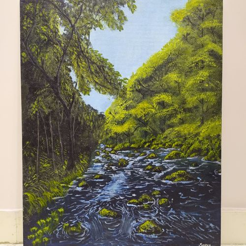 tropical, 16 x 20 inch, savya jayachandran,16x20inch,canvas,paintings,landscape paintings,nature paintings | scenery paintings,realism paintings,paintings for dining room,paintings for living room,paintings for bedroom,paintings for office,paintings for hotel,acrylic color,GAL03134143874