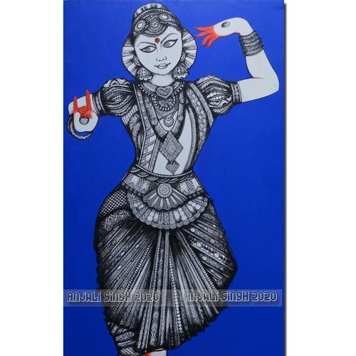 bharatanatyam, 30 x 54 inch, anjali singh,30x54inch,canvas,paintings,modern art paintings,paintings for dining room,paintings for living room,paintings for bedroom,paintings for office,paintings for hotel,paintings for school,paintings for dining room,paintings for living room,paintings for bedroom,paintings for office,paintings for hotel,paintings for school,mixed media,GAL01032143879