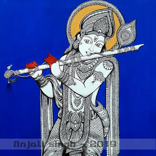the tunes of flute, 24 x 48 inch, anjali singh,24x48inch,canvas,paintings,radha krishna paintings,paintings for dining room,paintings for living room,paintings for bedroom,paintings for office,paintings for hotel,paintings for school,paintings for hospital,paintings for dining room,paintings for living room,paintings for bedroom,paintings for office,paintings for hotel,paintings for school,paintings for hospital,mixed media,GAL01032143884