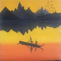 sunset scene , 12 x 16 inch, ruchi chandra verma,12x16inch,canvas,paintings,landscape paintings,nature paintings | scenery paintings,paintings for dining room,paintings for living room,paintings for bedroom,paintings for kids room,acrylic color,GAL02794543897