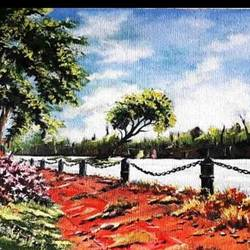 jogger's park, 16 x 12 inch, diptonil banerjee,16x12inch,canvas,landscape paintings,paintings for bedroom,paintings for bedroom,oil color,GAL01103243898