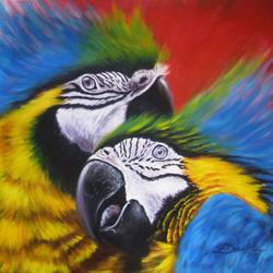 parrots, 20 x 15 inch, dinak divakaran,conceptual paintings,paintings for bedroom,wildlife paintings,paintings for dining room,paintings for living room,paintings for office,canvas,acrylic color,20x15inch,GAL0229439